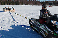 Only in Alaska... a sled made from a couch during the Restart of the 2016 Iditarod in Willow, Alaska.  March 06, 2016.