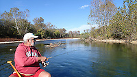 NWA Democrat-Gazette/FLIP PUTTHOFF <br /> The downstream end of the Elk River offers a serene fall float trip, but the river is quiet even in the peak summer floating season. Bob Ross of Rogers floats the Elk on Nov. 11 2016 about 10 miles west of Noel, Mo.