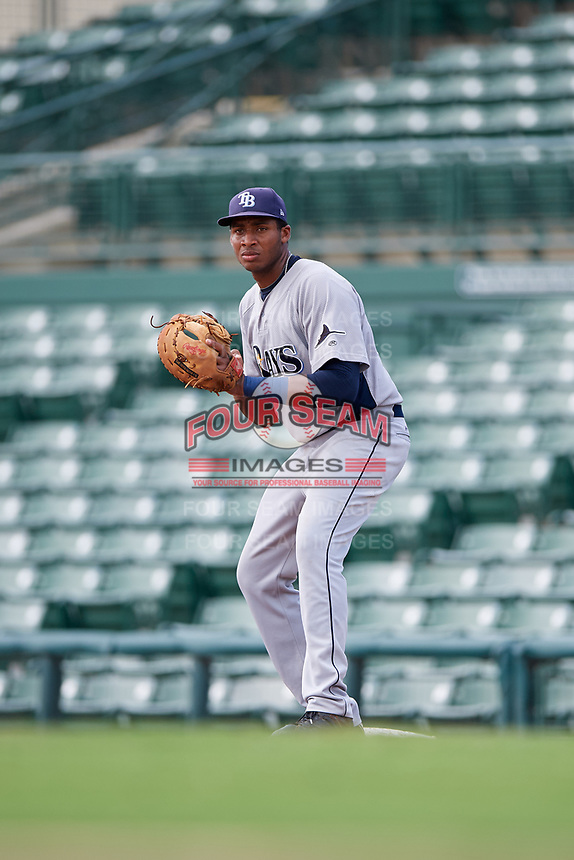 GCL Rays first baseman Vincent Byrd (35) during a game against the GCL Orioles on July 21, 2017 at Ed Smith Stadium in Sarasota, Florida.  GCL Orioles defeated the GCL Rays 9-0.  (Mike Janes/Four Seam Images)