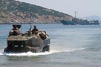 - military polygon of cape Teulada (Sardinia), amphibious armored vehicle LVTP of S.Marco battalion ....- poligono militare di Capo Teulada (Sardegna), veicolo blindato anfibio LVTP del battaglione S.Marco