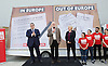 Jeremy Corbyn MP, Leader of the Labour Party, Tom Watson MP, Deputy Leader of the Labour Party and Angela Eagle MP, Shadow First Secretary of State and Shadow Secretary of State for Business, Innovation and Skills unveil a new poster from the Labour In for Britain campaign to Remain in the EU.<br /> 7th June 2016.<br /> Southbank, London, Great Britain <br /> <br /> <br /> Angela Eagle <br /> Jeremy Corbyn <br /> Tom Watson <br /> <br /> <br /> <br /> Photograph by Elliott Franks <br /> Image licensed to Elliott Franks Photography Services