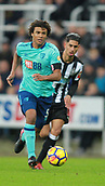 4th November 2017, St James Park, Newcastle upon Tyne, England; EPL Premier League football, Newcastle United Bournemouth; Nathan Aké of AFC Bournemouth powers past Joselu of Newcastle United
