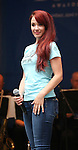 Sierra Boggess performing at United presents 'Stars in the Alley' in  Shubert Alley on May 27, 2015 in New York City.