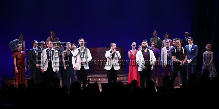 Geoff Packard, James Nathan Hopkins, Alex Bender, Brandon J. Ellis and Joe Carroll during the Broadway Opening Night Curtain Call Bows of 'Bandstand' at the Bernard B. Jacobs Theatre on 4/26/2017 in New York City.