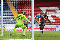 18th July 2020; Ewood Park, Blackburn, Lancashire, England; English Football League Championship Football, Blackburn Rovers versus Reading; Sam Gallagher of Blackburn Rovers beats Reading goalkeeper Rafael with a header to give his side a 4-3 lead after 85 minutes