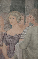 Detail of a portrait of Mabel Gage, one of the founders of the Foundation des Etats-Unis, from a fresco entitled La Periode Classique, 1 of a series of 4 paintings depicting the 4 ages of French art, showing the French royal court in the gardens of the Palais de Versailles, with Marie Antoinette and the Dauphin, Voltaire and Antoine Watteau painting his painting L'Indifferent of 1716, painted in Art Deco style in 1929-30 by Robert La Montagne Saint-Hubert, 1887-1950, and 2 assistants, Ethel Wallace and James Newell, 1900-1985, 1 of 6 frescoes which were discovered during works in 1994 and restored in 2011, in the Grand Salon or Great Hall of the Fondation des Etats Unis or American Foundation, designed by Pierre Leprince-Ringuet, 1874-1954, and inaugurated in 1930, in the Cite Internationale Universitaire de Paris, in the 14th arrondissement of Paris, France. The Grand Salon is listed as a historic monument. The CIUP or Cite U was founded in 1925 after the First World War by Andre Honnorat and Emile Deutsch de la Meurthe to create a place of cooperation and peace amongst students and researchers from around the world. It consists of 5,800 rooms in 40 residences, accepting another 12,000 student residents each year. Picture by Manuel Cohen. Further clearances may be requested.