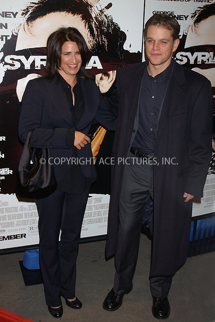 "WWW.ACEPIXS.COM . . . . .....November 20 2005, New York City....Matt Damon....Red Carpet Arrivals for the Warner Bros. Pictures US premiere of ""Syriana"" at the Loews Lincoln Square theatre.......  ....Please byline: Kristin Callahan - ACE PICTURES..... *** ***..Ace Pictures, Inc:  ..Philip Vaughan (212) 243-8787 or (646) 769 0430..e-mail: info@acepixs.com..web: http://www.acepixs.com"