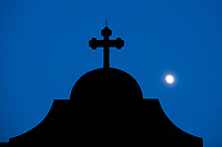 The moon rises over the National Shrine of St. Katharine Drexel Saturday, December 30, 2017 in Bensalem, Pennsylvania. Drexel was an American heiress who dedicating herself to work among the American Indians and African-Americans in the western and southwestern United States. She was canonized a saint by the Roman Catholic Church in 2000. (Photo by William Thomas Cain/Cain Images)