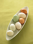 Naturally colored chicken eggs.