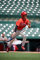 Philadelphia Phillies Luis Rojas (9) runs to first base during a Florida Instructional League game against the Baltimore Orioles on October 4, 2018 at Ed Smith Stadium in Sarasota, Florida.  (Mike Janes/Four Seam Images)
