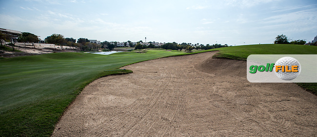 Right side fairway bunker to the dogleg 9th at The Address Montgomerie Golf Club, Dubai, United Arab Emirates.  27/01/2016. Picture: Golffile | David Lloyd<br /> <br /> All photos usage must carry mandatory copyright credit (&copy; Golffile | David Lloyd)