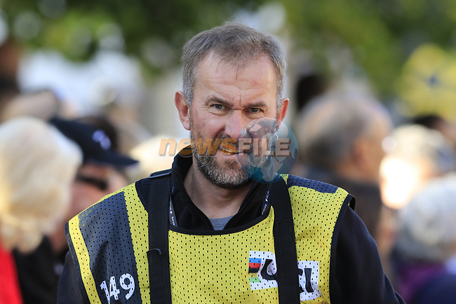 Photographer Arne Mill working hard during the Women Elite Road Race of the UCI World Championships 2019 running 149.4km from Bradford to Harrogate, England. 28th September 2019.<br /> Picture: Eoin Clarke | Cyclefile<br /> <br /> All photos usage must carry mandatory copyright credit (© Cyclefile | Eoin Clarke)