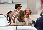 Spanish Royals, Queen Sofia (r), Prince Felipe (l) and Princess Letizia during a military parade marking the Armed Forces Day on June 2, 2012 in Valladolid.(ALTERPHOTOS/Acero)