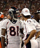 Aug. 31, 2006; Glendale, AZ, USA; Denver Broncos wide receiver (81) Charlie Adams talks with quarterback (16) Jake Plummer against the Arizona Cardinals at Cardinals Stadium in Glendale, AZ. Mandatory Credit: Mark J. Rebilas