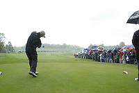 Padraig Harrington tees off in the rain on the 5th hole during the final round of the Irish Open on 20th of May 2007 at the Adare Manor Hotel & Golf Resort, Co. Limerick, Ireland. (Photo by Eoin Clarke/NEWSFILE)