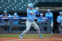 Brandon Riley (1) of the North Carolina Tar Heels at bat against the Boston College Eagles in Game Five of the 2017 ACC Baseball Championship at Louisville Slugger Field on May 25, 2017 in Louisville, Kentucky. The Tar Heels defeated the Eagles 10-0 in a game called after 7 innings by the Mercy Rule. (Brian Westerholt/Four Seam Images)