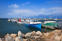 Fishing boats in Miscou Harbour<br /> Petit Shippagan on Lameque Island<br /> New Brunswick<br /> Canada