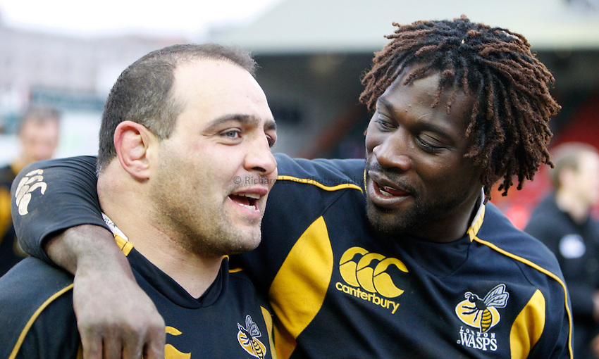 Photo: Richard Lane/Richard Lane Photography..Leicester Tigers v London Wasps. Guinness Premiership. 29/03/2008. Wasps' Raphael Ibanez and Paul Sackey celebrate victory.
