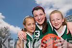FUTURE STARS: Mckenzie Keane, Laura Hoffman and Deirdre Kearney, members of the Mounthawk Basketball team from Tralee  who took part in the annual Dromclough National School Basketball Tournament in Listowel last weekend..