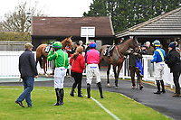 Jockeys prepare to mount their horses in the Parade Ring during Horse Racing at Plumpton Racecourse on 10th February 2020