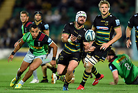 Heinrich Brussow of Northampton Saints passes the ball. Gallagher Premiership match, between Northampton Saints and Harlequins on September 7, 2018 at Franklin's Gardens in Northampton, England. Photo by: Patrick Khachfe / JMP