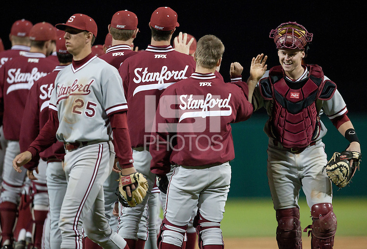LOS ANGELES, CA - April 8, 2011: Zach Jones of Stanford baseball celebrates with the team after Stanford's game against USC at Dedeaux Field. Stanford won 8-1.