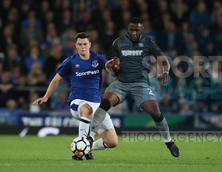Michael Keane of Everton tackles Hysen Memolla of Hajduk Split during the Europa League Qualifying Play Offs 1st Leg match at Goodison Park Stadium, Liverpool. Picture date: August 17th 2017. Picture credit should read: David Klein/Sportimage