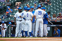 Kentucky Wildcats head coach Nick Mingione has a group discussion during the game against the Sam Houston State Bearkats during game four of the 2018 Shriners Hospitals for Children College Classic at Minute Maid Park on March 3, 2018 in Houston, Texas. The Wildcats defeated the Bearkats 7-2.  (Brian Westerholt/Four Seam Images)
