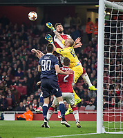 Goalkeeper Milan Borjan of Crvena Zvezda (Red Star Belgrade) punches clear of Olivier Giroud of Arsenal during the UEFA Europa League group stage match between Arsenal and FC Red Star Belgrade at the Emirates Stadium, London, England on 2 November 2017. Photo by Andy Rowland.