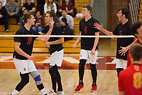 STANFORD, CA - January 2, 2018: Jacob Thoenen, JP Reilly, Eric Beatty, Russell Dervay at Burnham Pavilion. The Stanford Cardinal defeated the Calgary Dinos 3-1.