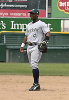 June 22, 2004:  Bryant Nelson of the Charlotte Knights, International League (AAA) affiliate of the Chicago White Sox, during a game at Frontier Field in Rochester, NY.  Photo by:  Mike Janes/Four Seam Images