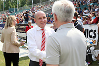 Cary, North Carolina  - Saturday April 29, 2017: Paul Riley and Tom Sermanni prior to regular season National Women's Soccer League (NWSL) match between the North Carolina Courage and the Orlando Pride at Sahlen's Stadium at WakeMed Soccer Park.