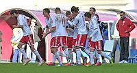 Fußball 3. Liga 2013/14 - Rasenballsport Leipzig (RB) gegen SSV Jahn Regensburg am 19.10.2013 in Leipzig (Sachsen). <br /> IM BILD: Torjubel nach dem 1:0 <br /> Foto: Christian Nitsche / aif