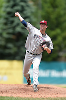 Mahoning Valley Scrappers pitcher James Stokes (32) delivers a pitch during a game against the Jamestown Jammers on June 16, 2014 at Russell Diethrick Park in Jamestown, New York.  Mahoning Valley defeated Jamestown 2-1.  (Mike Janes/Four Seam Images)