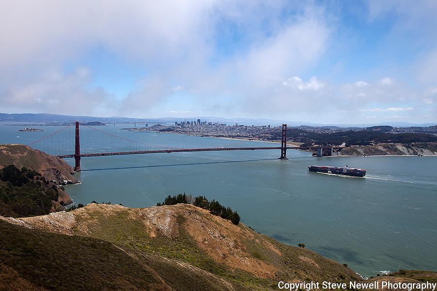"""Golden Gate Strait"" A cargo ship approaching the Golden Gate Bridge San Francisco, California."