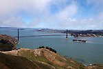 """Golden Gate Strait"" A cargo ship approaching the Golden Gate Bridge San Francisco, California."
