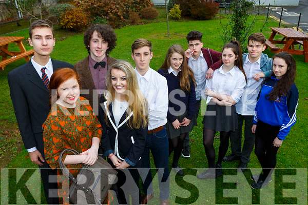 St Brendans College students in rehearsals for the Willie Russell Comedy Our Day Out which they will be performing in Killarney Racecourse on November 30th and the 1st December l-r: Wiktor Bogalecki, Caitlin Cronin, Sean Brosnan, Karis Koschan and Mark Cooper. Back row: Eabha Healy, Jonathan O'Keeffe, Saoirse Coffey, David Moriarty and Islínn Ní Chróinín