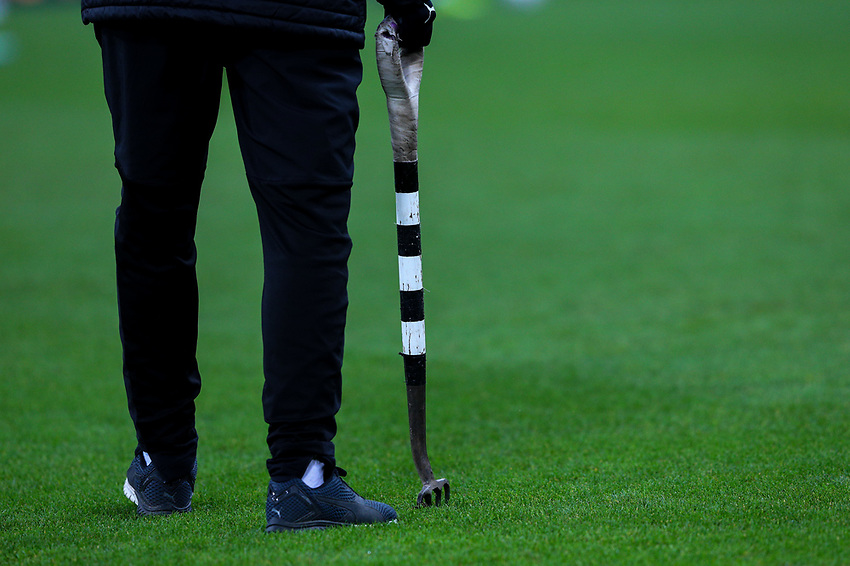 A Newcastle United groundsman prods the turf<br /> <br /> Photographer Alex Dodd/CameraSport<br /> <br /> Emirates FA Cup Third Round - Newcastle United v Blackburn Rovers - Saturday 5th January 2019 - St James' Park - Newcastle<br />  <br /> World Copyright © 2019 CameraSport. All rights reserved. 43 Linden Ave. Countesthorpe. Leicester. England. LE8 5PG - Tel: +44 (0) 116 277 4147 - admin@camerasport.com - www.camerasport.com