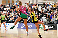 Southern Blast&rsquo;s Tarryn Dickson and Central Manawa&rsquo;s Maddy Gordon in action during the Beko Netball League - Central Manawa v Southern Blast at ASB Sports Centre, Wellington, New Zealand on Sunday 12 May 2019. <br /> Photo by Masanori Udagawa. <br /> www.photowellington.photoshelter.com
