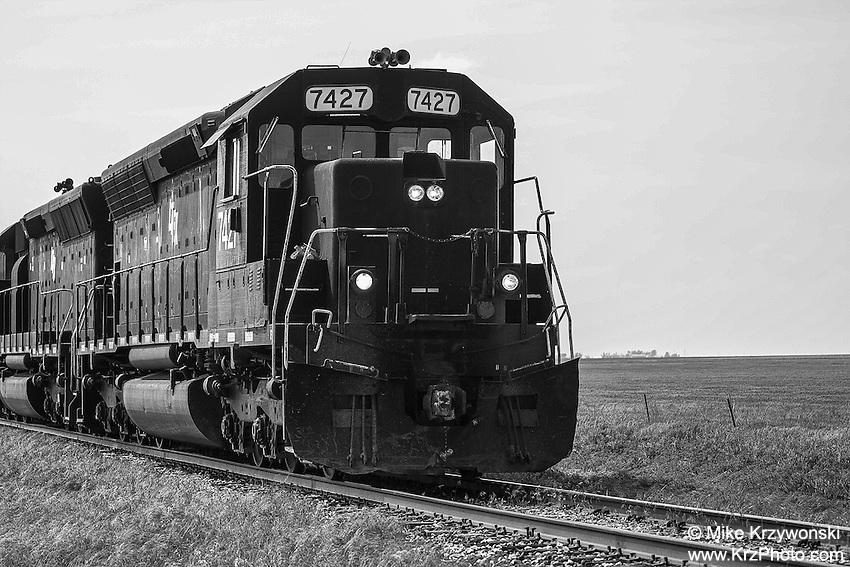 Closeup of locomotive train approaching