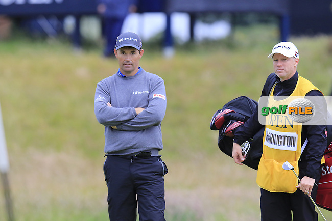 Padraig HARRINGTON (IRL) and caddy Ronan Flood at the 17th green during Monday's Final Round of the 144th Open Championship, St Andrews Old Course, St Andrews, Fife, Scotland. 20/07/2015.<br /> Picture Eoin Clarke, www.golffile.ie
