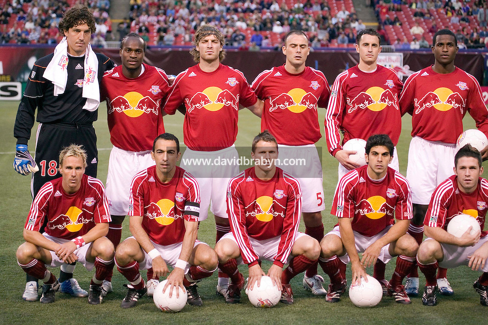 20 May 2006 - East Rutherford, NJ - French soccer player Youri Djorkaeff (2L, front row) poses for the team photo before a championship match between his New York Redbulls team and the Los Angeles Chivas at Giants Stadium, East Rutherford, USA, 20 May 2006. The New York Redbulls won the game 5-3 in their first victory of the season. Photo Credit: David Brabyn