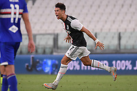 Cristiano Ronaldo of Juventus celebrates after scoring the goal of 1-0 during the Serie A football match between Juventus FC and UC Sampdoria at Juventus stadium in Turin (Italy), July 26th, 2020. Play resumes behind closed doors following the outbreak of the coronavirus disease. <br /> Photo Federico Tardito / Insidefoto