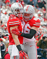 Ohio State Buckeyes tight end Nick Vannett (81) celebrates his touchdown catch with Ohio State Buckeyes tight end Jeff Heuerman (86) in the 1st quarter of their game at Ohio Stadium in Columbus, Ohio on November 29, 2014.  (Dispatch photo by Kyle Robertson)