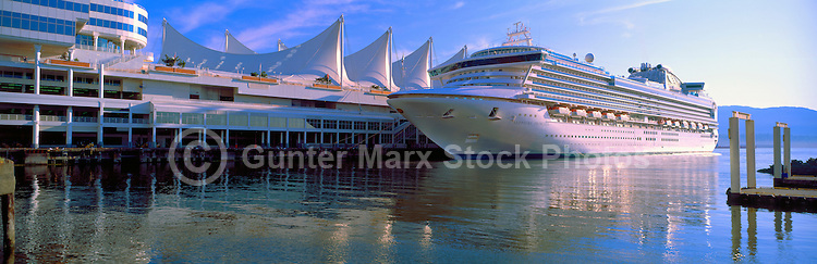 Sapphire Princess Cruise Ship docked at Canada Place Cruise Ship Terminal, Vancouver, BC, British Columbia, Canada - Port of Vancouver Harbour, Vancouver Convention and Exhibition Centre (East Facility) - Panoramic View
