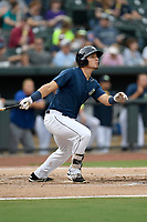 First baseman Jeremy Vasquez (20) of the Columbia Fireflies bats in a game against the Greenville Drive on Saturday, May 26, 2018, at Spirit Communications Park in Columbia, South Carolina. Columbia won, 9-2. (Tom Priddy/Four Seam Images)