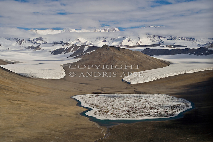 Lake Miers Adams and Miers Glaciers in the Miers Valley. Royal Society Range. Dry Valleys Antarctica.