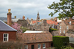 The Town Hall built 1754–60 set amongst rooftops, Berwick-upon-Tweed, Northumberland, England, UK