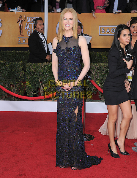Nicole Kidman Urban (wearing Vivienne Westwood).Arrivals at the 19th Annual Screen Actors Guild Awards at the Shrine Auditorium in Los Angeles, California, USA..27th January 2013.SAG SAGs full length black blue lace dress sheer sleeveless .CAP/DVS.©DVS/Capital Pictures.