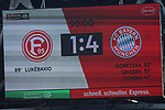 14.04.2019, Merkur Spielarena, Duesseldorf , GER, 1. FBL,  Fortuna Duesseldorf vs. FC Bayern Muenchen,<br />  <br /> DFL regulations prohibit any use of photographs as image sequences and/or quasi-video<br /> <br /> im Bild / picture shows: <br /> Endstand 4:1<br /> <br /> Foto &copy; nordphoto / Meuter